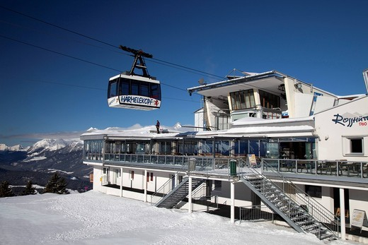 Haermelekopf cable car, gondola, 1760m, Rosshuette mountain station, Rosshuette Hut, Seefeld, Tyrol, Austria, Europe : Stock Photo