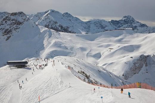Skiing area on Mt Fellhorn, winter, snow, Oberstdorf, Allgaeu Alps, Allgaeu, Bavaria, Germany, Europe : Stock Photo