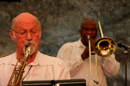 Ambros Seelos and band performing at a jazz festival in Muehldorf am Inn, Bavaria, Germany : Stock Photo