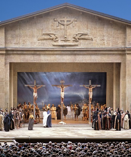 Crucifixion of Jesus Christ, scene, performance, Passion Plays, Oberammergau, Upper Bavaria, Bavaria, Germany, Europe : Stock Photo