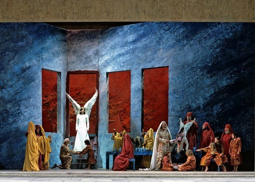 The Last Supper, scene, performance, Passion Plays, Oberammergau, Upper Bavaria, Bavaria, Germany, Europe : Stock Photo