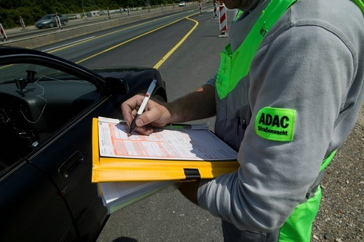 ADAC, the German automotive society, in action on the highway at a construction site, AA, AAA, RAC, Germany, Europe : Stock Photo