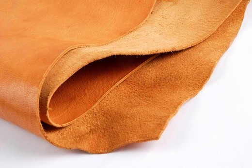 Stock Photo: 1848-423752 Tanned leather, leather tannery