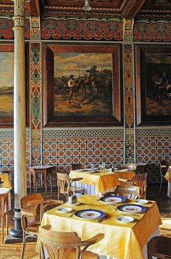 Stock Photo: 1848-423973 Set tables, Club Espanol, Casino, Spanish Club, restaurant, historic building, Spanish tiles, Moorish style, Plaza Arturo Prat square, Iquique, Norte Grande, Northern Chile, Chile, South America