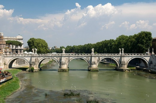 Stock Photo: 1848-424088 Ponte Sant´Angelo bridge over the Tiber river, Rome, Italy, Europe