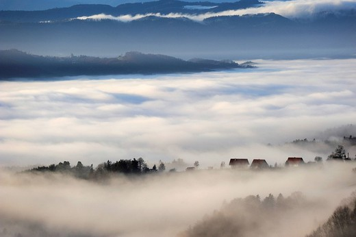 Fog in the mountains, Kitzeck im Sausal, Styria, Austria, Europe : Stock Photo