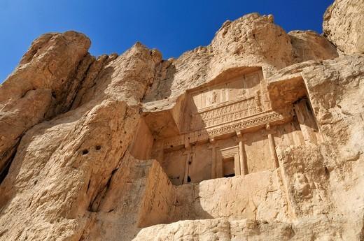 Royal tomb of King Artaxerxes I., Achaemenid burial site Naqsh_e Rostam, Rustam near the archeological site of Persepolis, UNESCO World Heritage Site, Persia, Iran, Asia : Stock Photo
