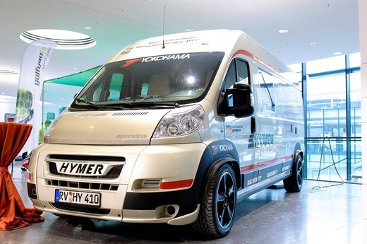 The fastest motorhome in the world by HYMER, CMT, Caravan Motor Touristik _ Die Urlaubsmesse 2010 trade fair, Stuttgart, Baden_Wuerttemberg, Germany, Europe : Stock Photo