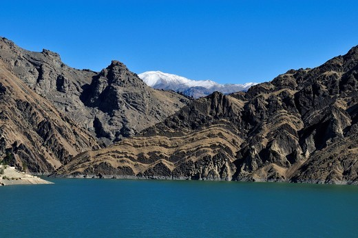 Amir Kabir water reservoir in the Alborz Mountains, Iran, Persia, Asia : Stock Photo