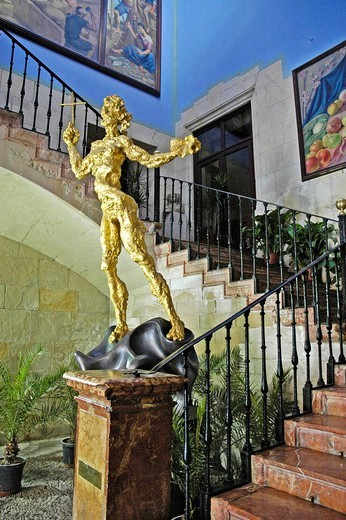 Sculpture by Salvador Dali in the stairway of the entrance are of the town hall, ayuntamiento, Alicante, Spain : Stock Photo