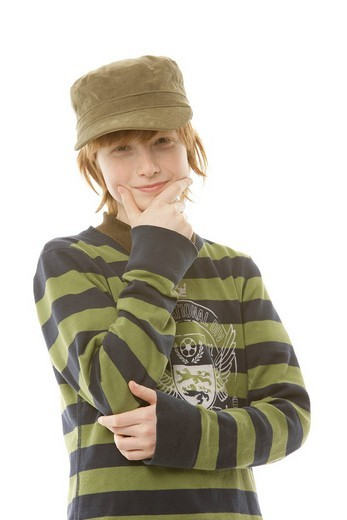 Stock Photo: 1848-42457 12_year_old boy wearing a cap