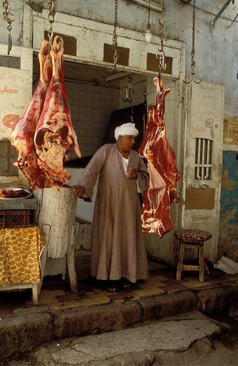 Butcher, with camel meat, butchery, bazaar in Aswan, Egypt, North Africa, Africa : Stock Photo