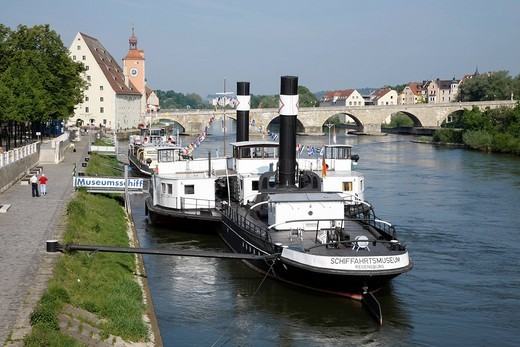 Stock Photo: 1848-42472 Museum ship, Steinerne Bruecke, bridge, Regensburg, UNESCO World Heritage Site, Danube River, Upper Palatinate, Bavaria, Germany, Europe