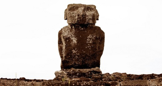 Moai, stone statue, Easter Island, Chile : Stock Photo