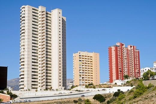 Skyscrapers, construction site, construction boom, Benidorm, Costa Blanca, Alicante province, Spain, Europe : Stock Photo