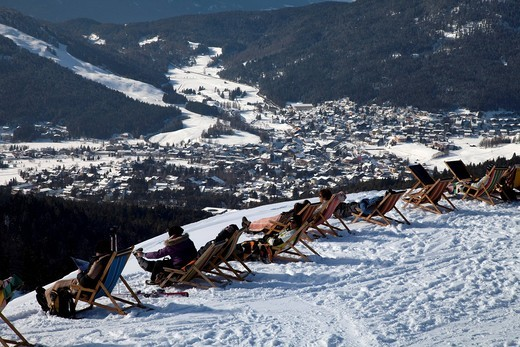 Stock Photo: 1848-425082 Panoramic viewing platform with deck chairs, sunbathing area, tourists sunbathing, Rosshuette, 1760m, Tyrol, Austria, Europe