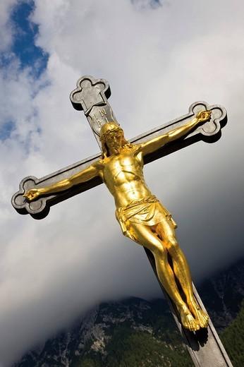 Crucifix, cemetery, Mittenwald, Werdenfelser Land, Upper Bavaria, Bavaria, Germany, Europe : Stock Photo