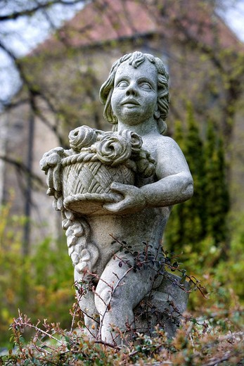 Statue of a boy at the Schlossberg, Quedlinburg, Saxony_Anhalt, Germany, Europe : Stock Photo