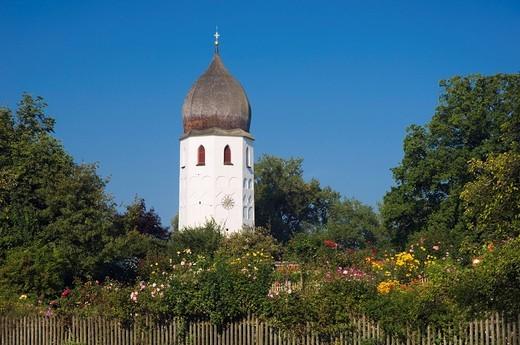 Convent garden, monastery church, Fraueninsel island, Chiemsee lake, Chiemgau, Upper Bavaria, Bavaria, Germany, Europe : Stock Photo