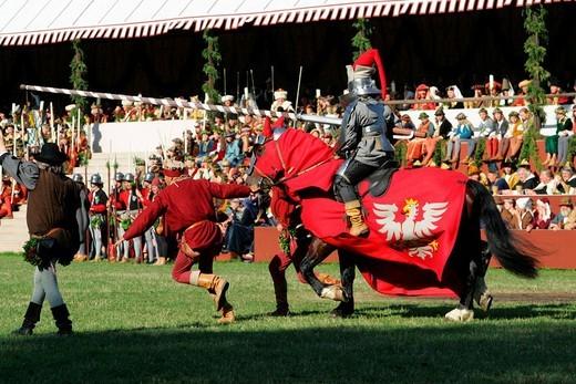 Stock Photo: 1848-4261 Medieval games during the Landshut Wedding historical pageant, Landshut, Lower Bavaria, Bavaria, Germany, Europe