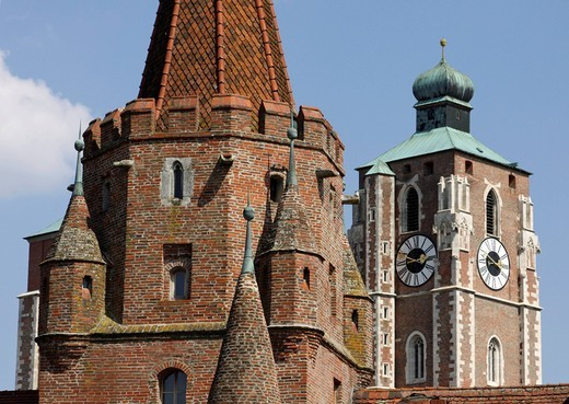 Minster, Kreuztor Gate, Ingolstadt, Bavaria, Germany, Europe : Stock Photo