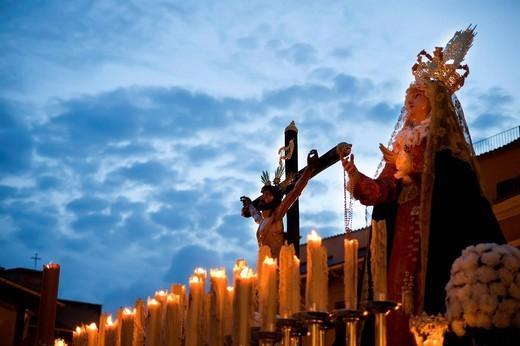 Mary and Christ crucified, Semana Santa, Holy Week, Palma de Majorca, Majorca, Balearic Islands, Spain, Europe : Stock Photo