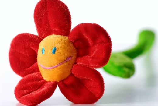 Fabric flower with smiley : Stock Photo