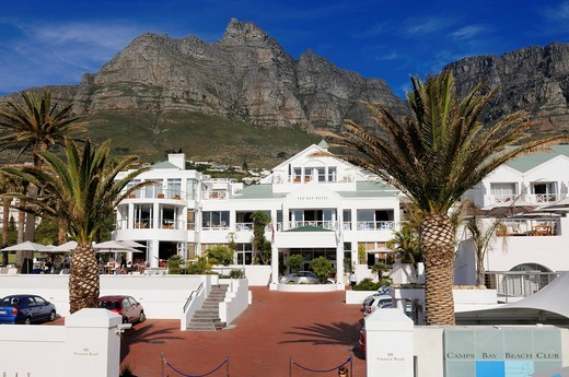 Stock Photo: 1848-426358 Camps Bay Beach Club and The Bay Hotel, Camps Bay, Cape Town, Western Cape, South Africa, Africa