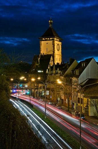 Schwabentor gate tower, Freiburg im Breisgau, Baden_Wuerttemberg, Germany, Europe : Stock Photo