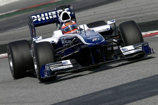 Motorsports, Rubens Barrichello, Brazil, in the Williams FW31 race car, Formula 1 testing at the Circuit de Catalunya race track in Barcelona, Spain, Europe : Stock Photo