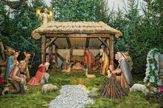Nativity scene, Hildesheim, Lower Saxony, Germany, Europe : Stock Photo