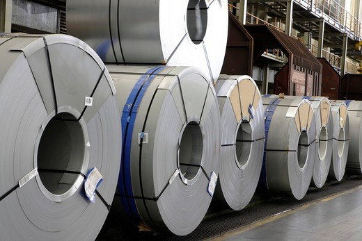 Stock Photo: 1848-426800 Rolls of metal for the chassis production, golf car production, VW plant in Wolfsburg, Lower Saxony, Germany, Europe