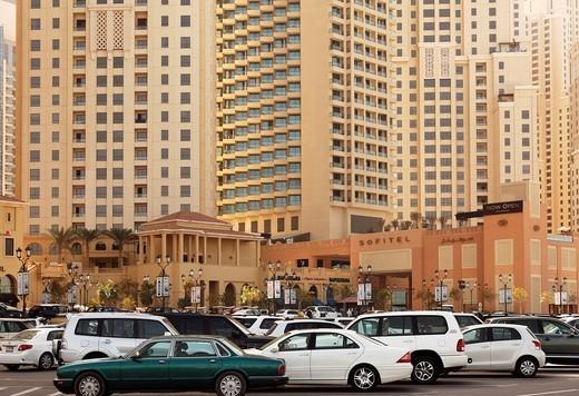 Jumeirah Towers, Dubai Marina, Dubai, United Arab Emirates, Middle East, Asia : Stock Photo