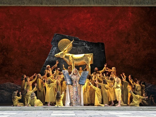 Back in front of the temple, scene, performance, Passion Plays, Oberammergau, Upper Bavaria, Bavaria, Germany, Europe : Stock Photo