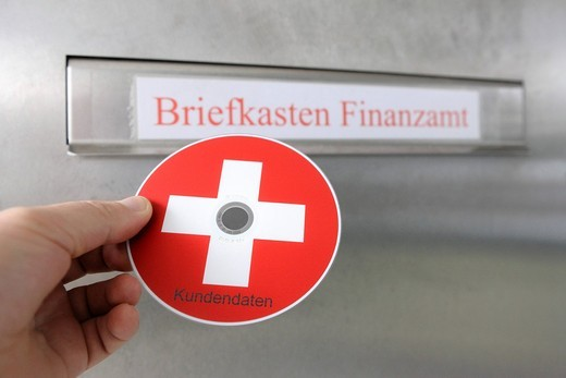 Briefkasten Finanzamt, mailbox, tax office, CD, DVD of tax evaders, tax dodgers : Stock Photo