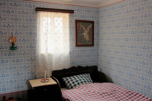 Children´s bedroom from the 1920s, Hessenpark Open_Air Museum, Neu_Anspach, Taunus, Hesse, Germany, Europe : Stock Photo