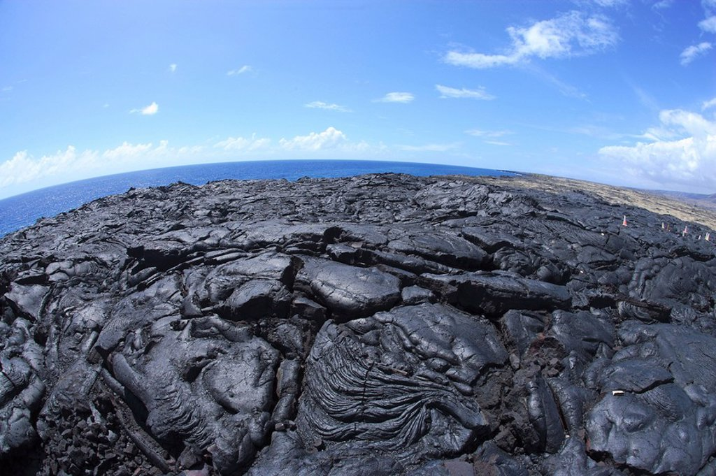 Cooled lava in Volcano Park on the south coast of Big Island, Hawaii, USA : Stock Photo