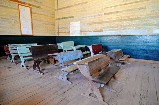Stock Photo: 1848-427409 Old school desks, benches, school, Humberstone, salpetre works, abandoned salpetre town, ghost town, desert, museum, UNESCO World Heritage Site, Iquique, Norte Grande region, Northern Chile, Chile, South America