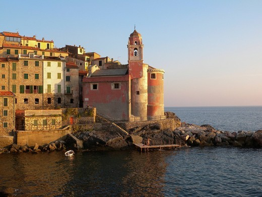 Stock Photo: 1848-427528 View on Tellaro on the sea, church, port, Tellaro, Riviera, Liguria, Italy, Europe