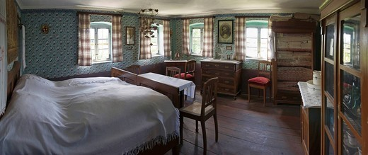 Historic Franconian bedroom and living room, Franconian Open_air Museum of Bad Windsheim, Bavaria, Germany, Europe : Stock Photo