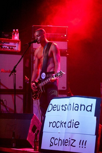 The German_American rock singer Joachim Deutschland live at the Club ABCmixx venue in Lucerne, Switzerland : Stock Photo