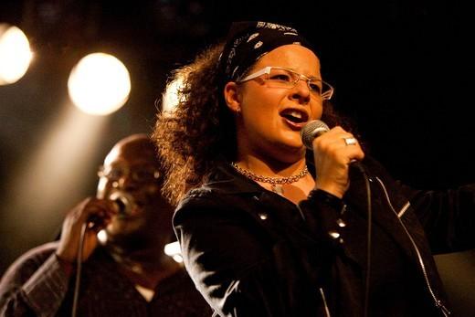 The Swiss singer Carmen Fenk of Diversity Praiz live in the Schueuer venue, Lucerne, Switzerland : Stock Photo