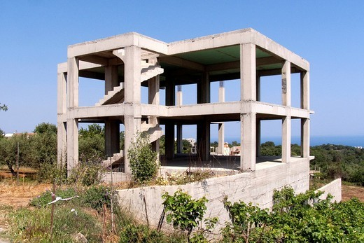 Abandoned construction of a building of armoured concrete in Rethimno, Crete, Greece, Europe : Stock Photo