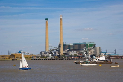 Tilbury B Coal Power Station, Essex, across river Thames from Gravesend, Kent, England, United Kingdom, Europe : Stock Photo