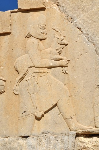 Bas_relief with soldier offering a deer at the Achaemenid archeological site of Persepolis, UNESCO World Heritage Site, Persia, Iran, Asia : Stock Photo