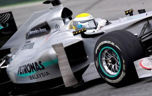 Motorsport, Nico Rosberg, GER, in the Mercedes W01 MGP race car, Formula 1 testing at the Circuit de Catalunya race track in Barcelona, Spain, Europe : Stock Photo