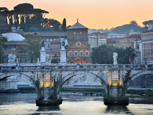 Ponte Sant´Angelo or Aelian Bridge at dusk, Rome, Lazio, Italy, Europe : Stock Photo