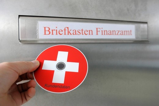 Briefkasten Finanzamt, mailbox, tax office, CD, DVD of tax evaders, tax dodgers : Stock Photo