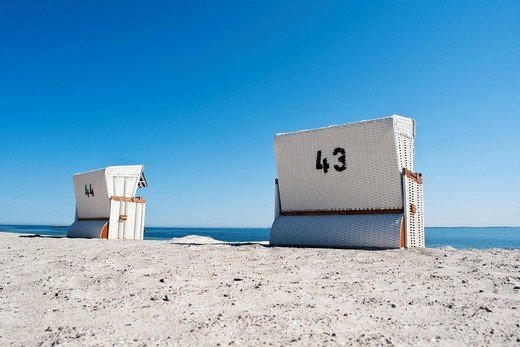 Beach chairs on a beach, Baltic Sea, Boltenhagen, Mecklenburg_Western Pomerania, Germany, Europe : Stock Photo