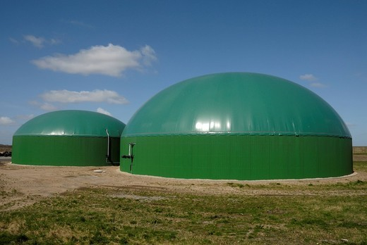 Agricultural biogas plant, biomass power plant with cogeneration unit, CHP, for electricity and heat production : Stock Photo